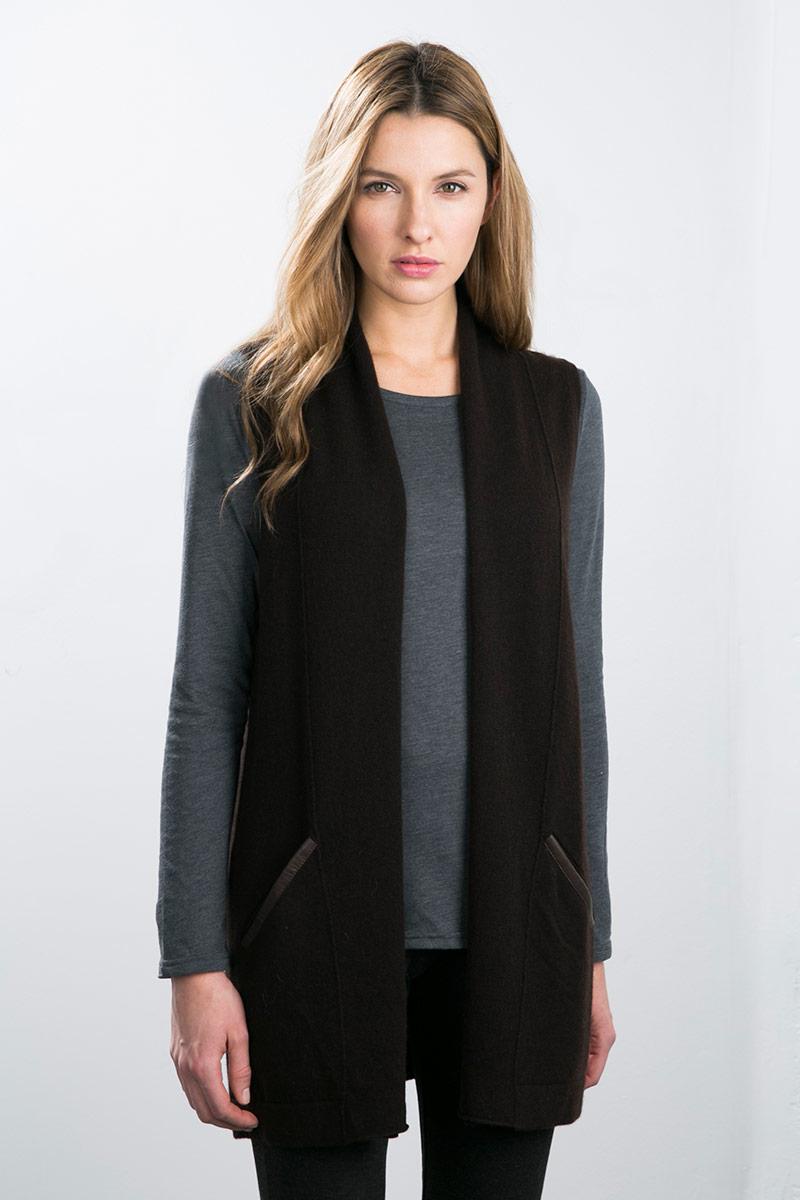 Kinross Cashmere   Leather Trim Long Vest