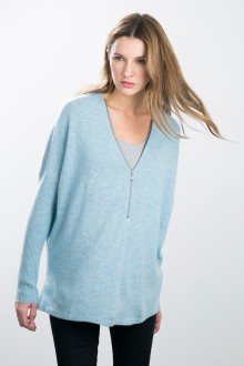 Kinross Cashmere | Relaxed Zip Neck Pullover