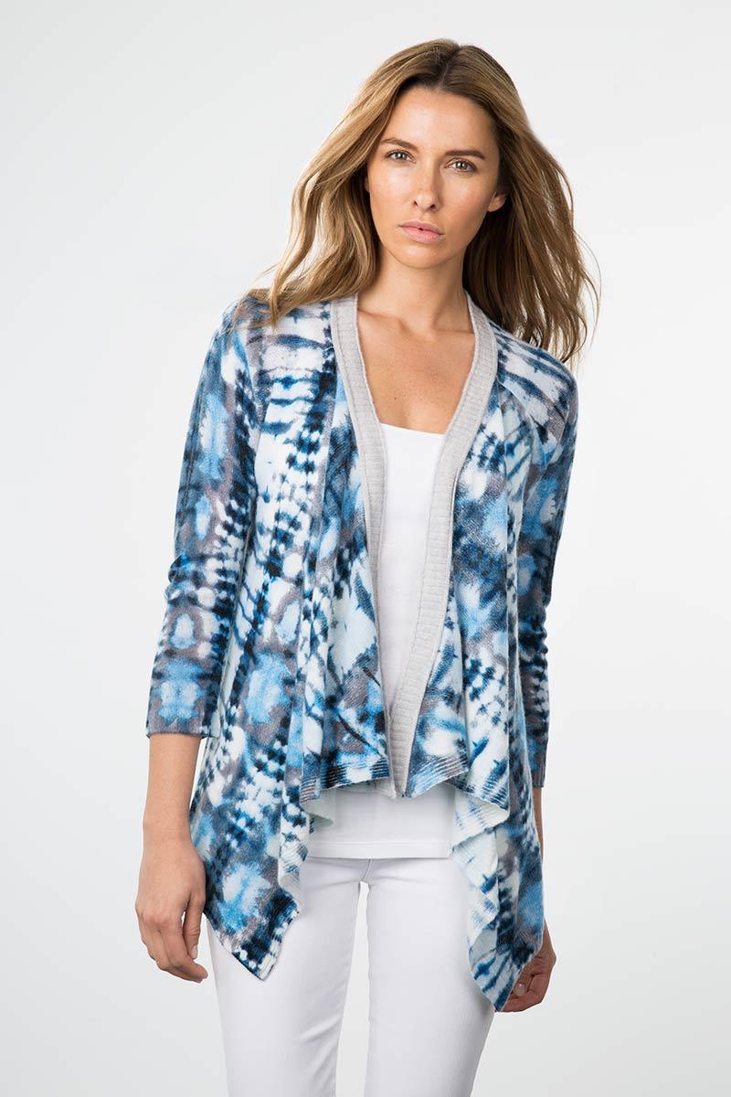 Kinross Cashmere | Resort 2015 | 3/4 Sleeve Tie Dye Drape Cardigan