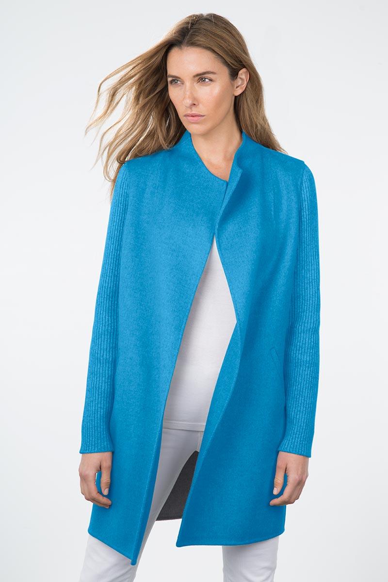 Kinross Cashmere | Resort 2015 | Rib Sleeve Woven Coat