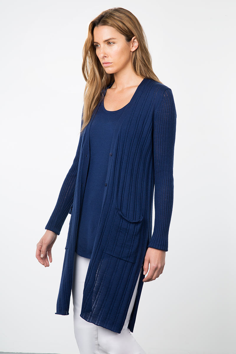 Kinross Cashmere | Resort 2015 | Drop Needle Rib Duster