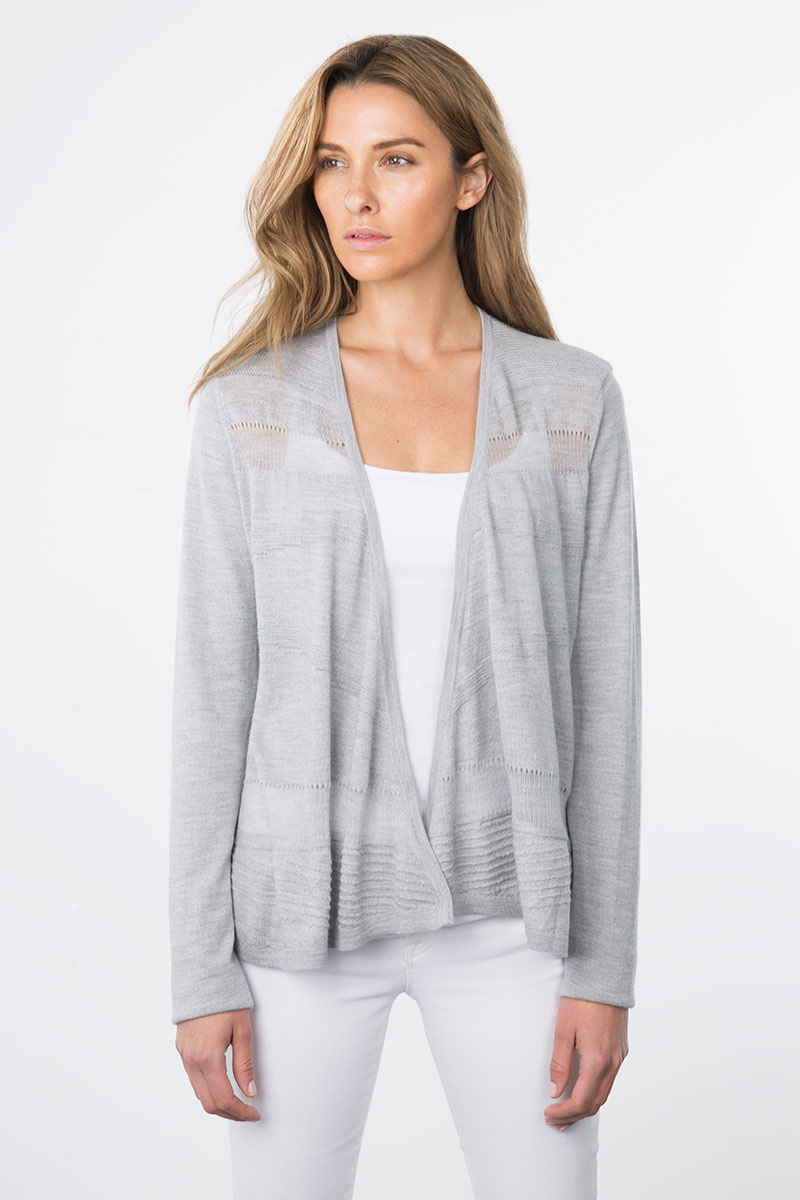 Kinross Cashmere | Resort 2015 | 3/4 Sleeve Diagonal Stitch Drape Front Cardigan
