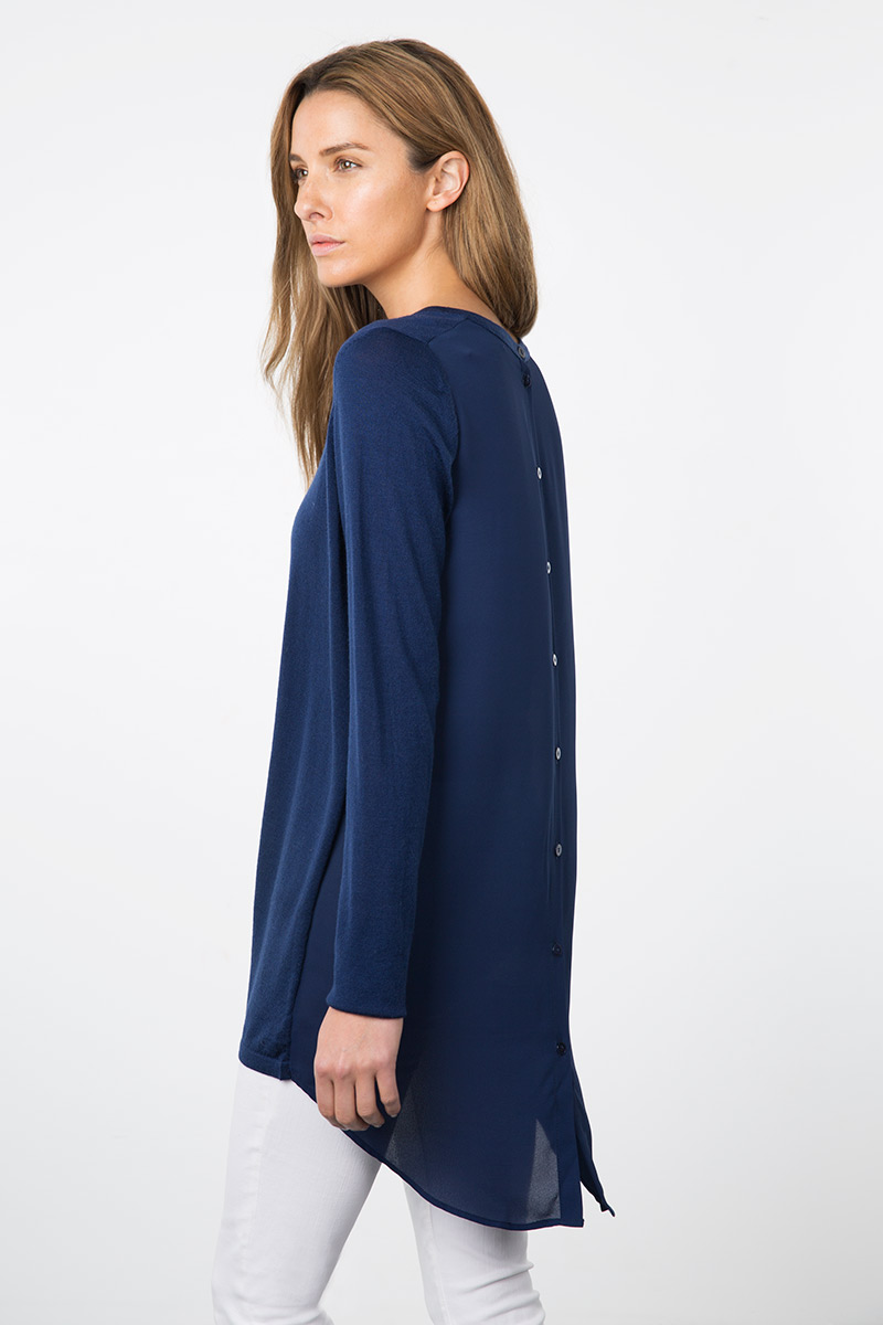 Kinross Cashmere | Resort 2015 | Mixed Media Button Back Tunic