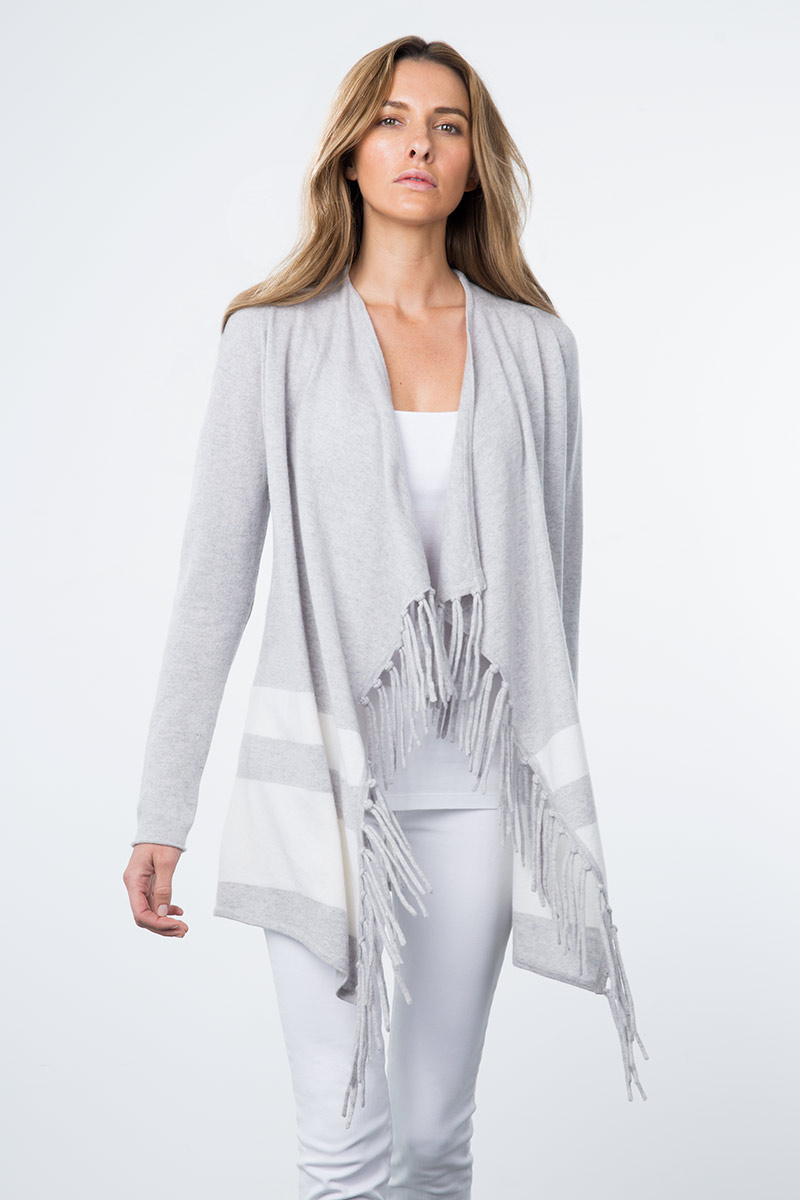 Kinross Cashmere | Resort 2015 | Stripe Border Fringe Cardigan