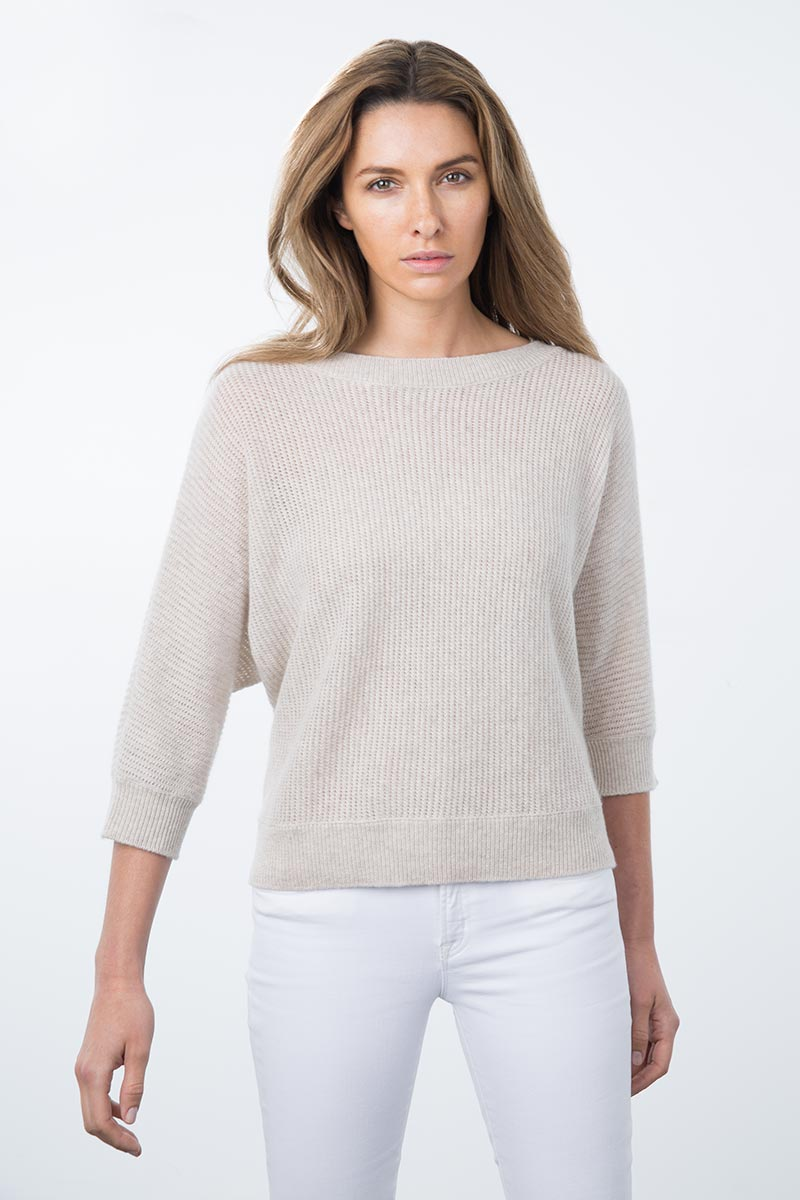 Kinross Cashmere | Resort 2015 | 3/4 Sleeve Textured Dolman
