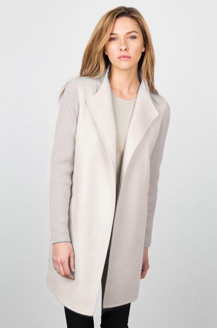 Rib Sleeve Coat Kinross Cashmere 100% Cashmere