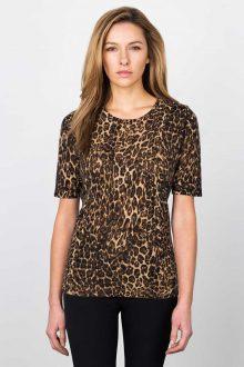 Leopard Elbow Slv P/O w/ Zip Kinross Cashmere 100% Cashmere