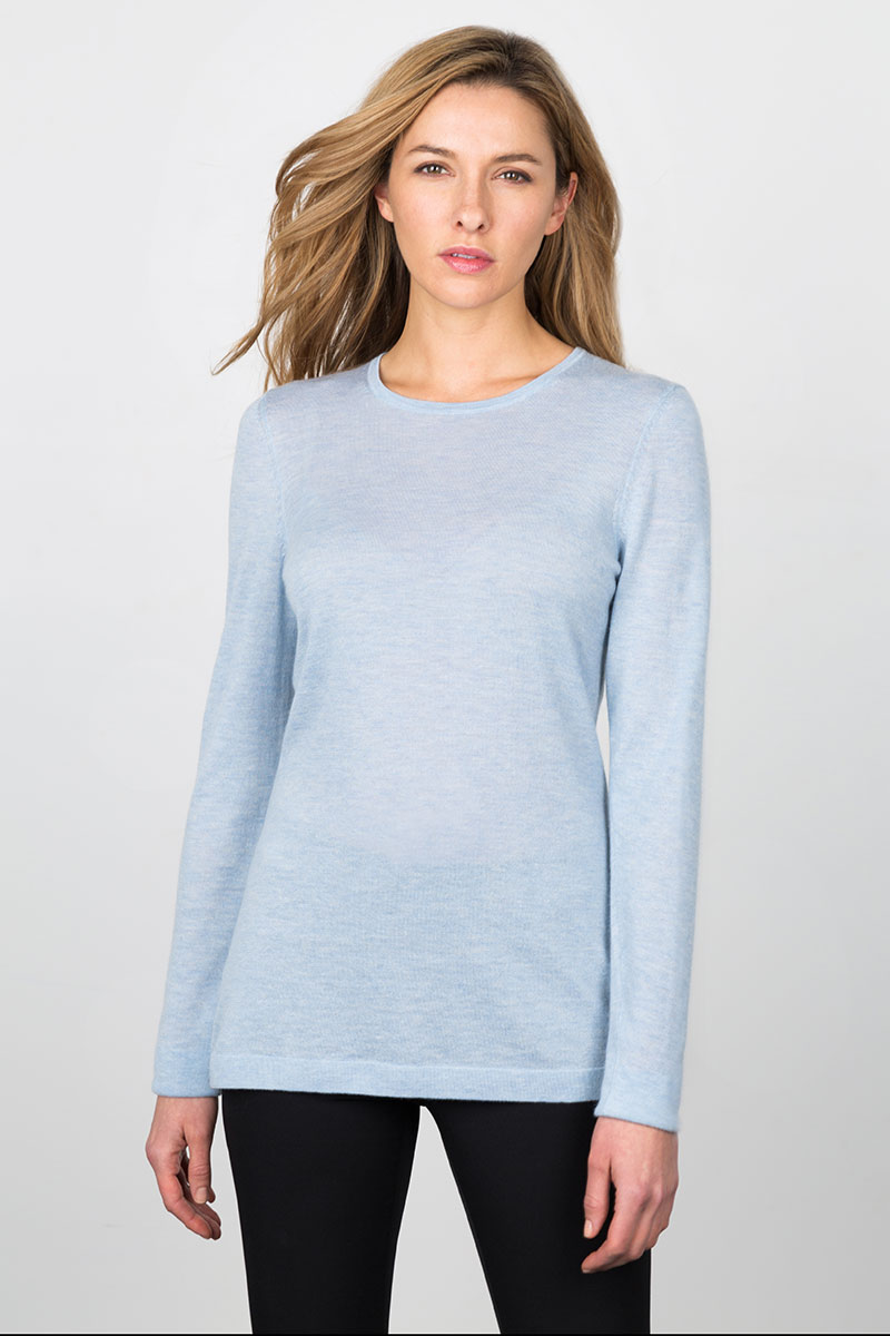Worsted Crewneck - Ice Blue Kinross Cashmere 100% Cashmere