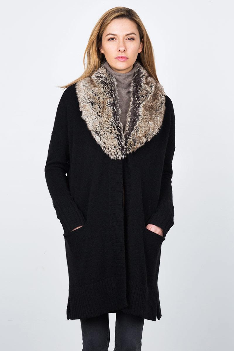 Faux Fur Cardigan Kinross Cashmere 100% Cashmere