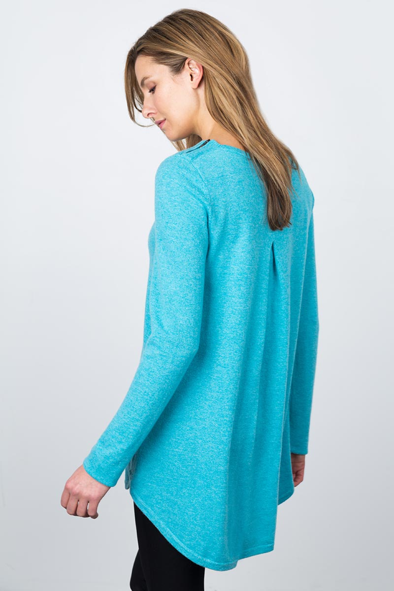Pleat Back Tunic - Biscay Kinross Cashmere 100% Cashmere
