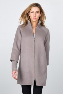 Zip Mockneck Coat w/ Rib Detail - Doeskin Kinross Cashmere