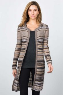 Drop Needle Rib Stripe Cardigan Kinross Cashmere 100% Cashmere