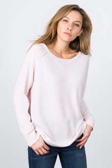 Exposed Seam Sweatshirt - Pink Frost Kinross Cashmere 100% Cashmere