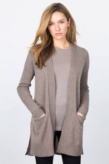 High Split Rib Trim Cardigan Kinross Cashmere 100% Cashmere