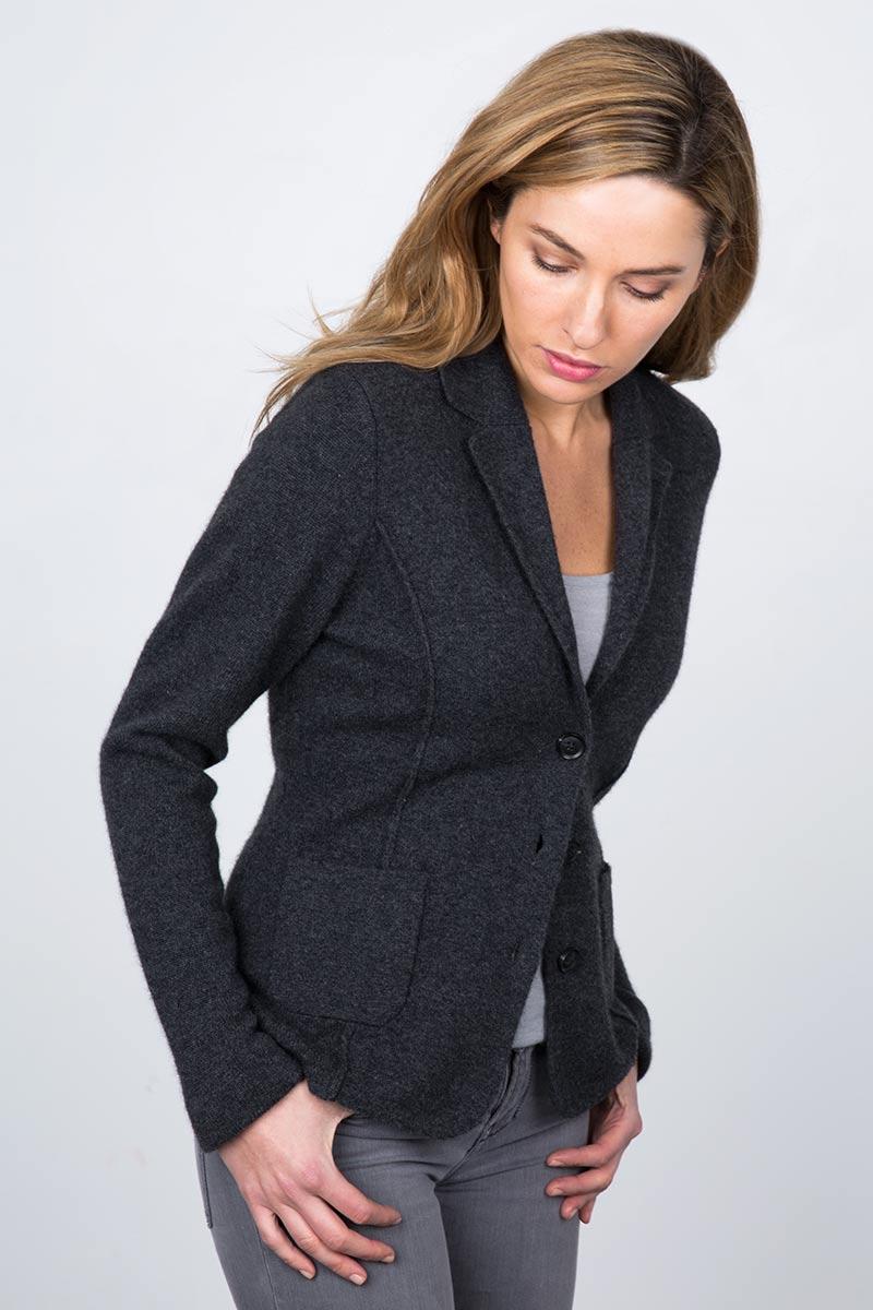 Notch Collar Blazer - Charcoal Kinross Cashmere 100% Cashmere