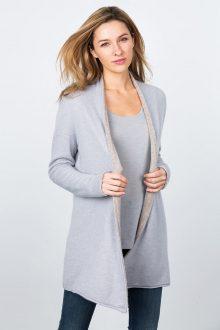 Reversible Cardigan - Dove / Mink Kinross Cashmere 100% Cashmere