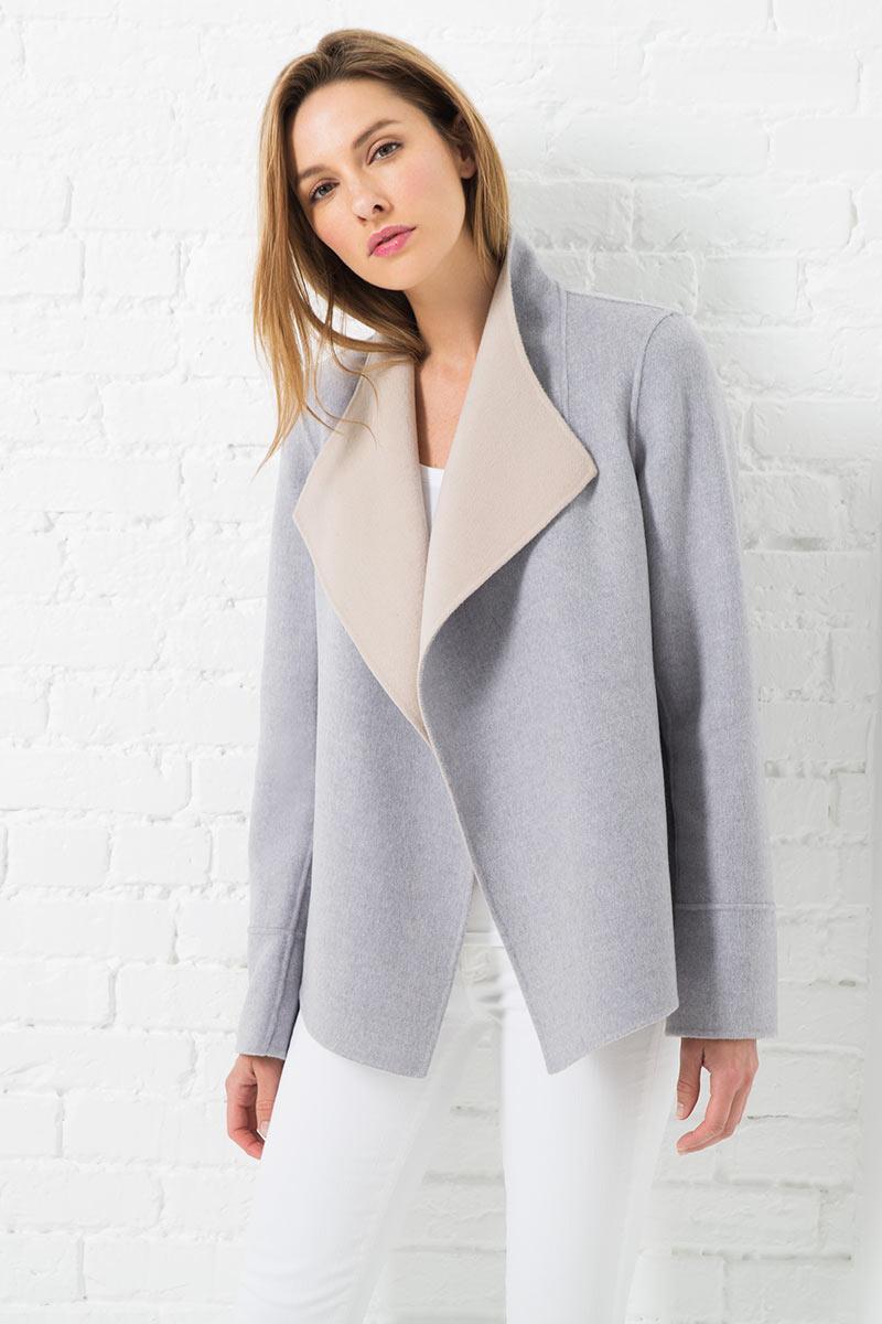Reversible Jacket - Almond / Dove Kinross Cashmere 100% Cashmere