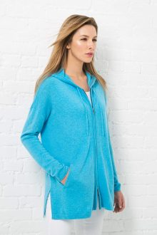 Hooded Zip Cardigan Kinross Cashmere 100% Cashmere