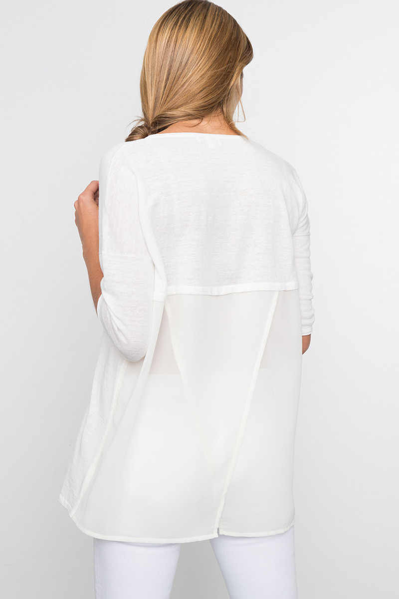 Kinross Cashmere | Spring 2016 | 3/4 Sleeve Mixed Media V Neck Tunic