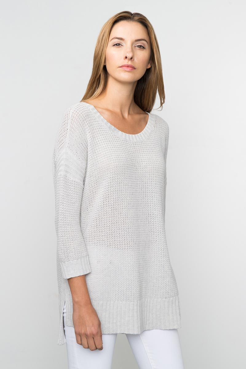 Kinross Cashmere | Spring 2016 | 3/4 Sleeve Textured High/Low Pullover