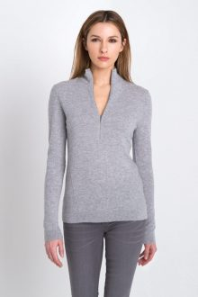 Fitted Zip Mock Kinross Cashmere 100% Cashmere