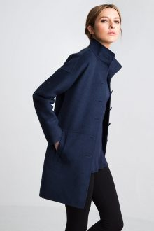 Modern Button Front Coat Kinross Cashmere 100% Cashmere