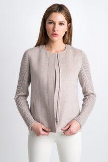 Short Zip Jacket w/ Rib Slvs Kinross Cashmere 100% Cashmere