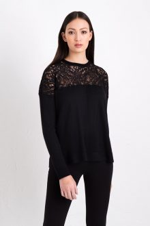 Easy Lace Pullover Kinross Cashmere 100% Cashmere