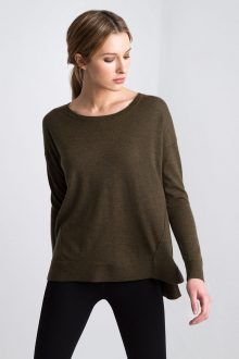 Worsted Relaxed High Low Pullover Kinross Cashmere 100% Cashmere