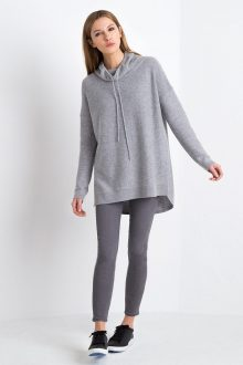 Textured Drawstring Tunic - Sterling Kinross Cashmere 100% Cashmere