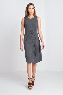 Side Ruched Dress Kinross Cashmere 100% Cashmere