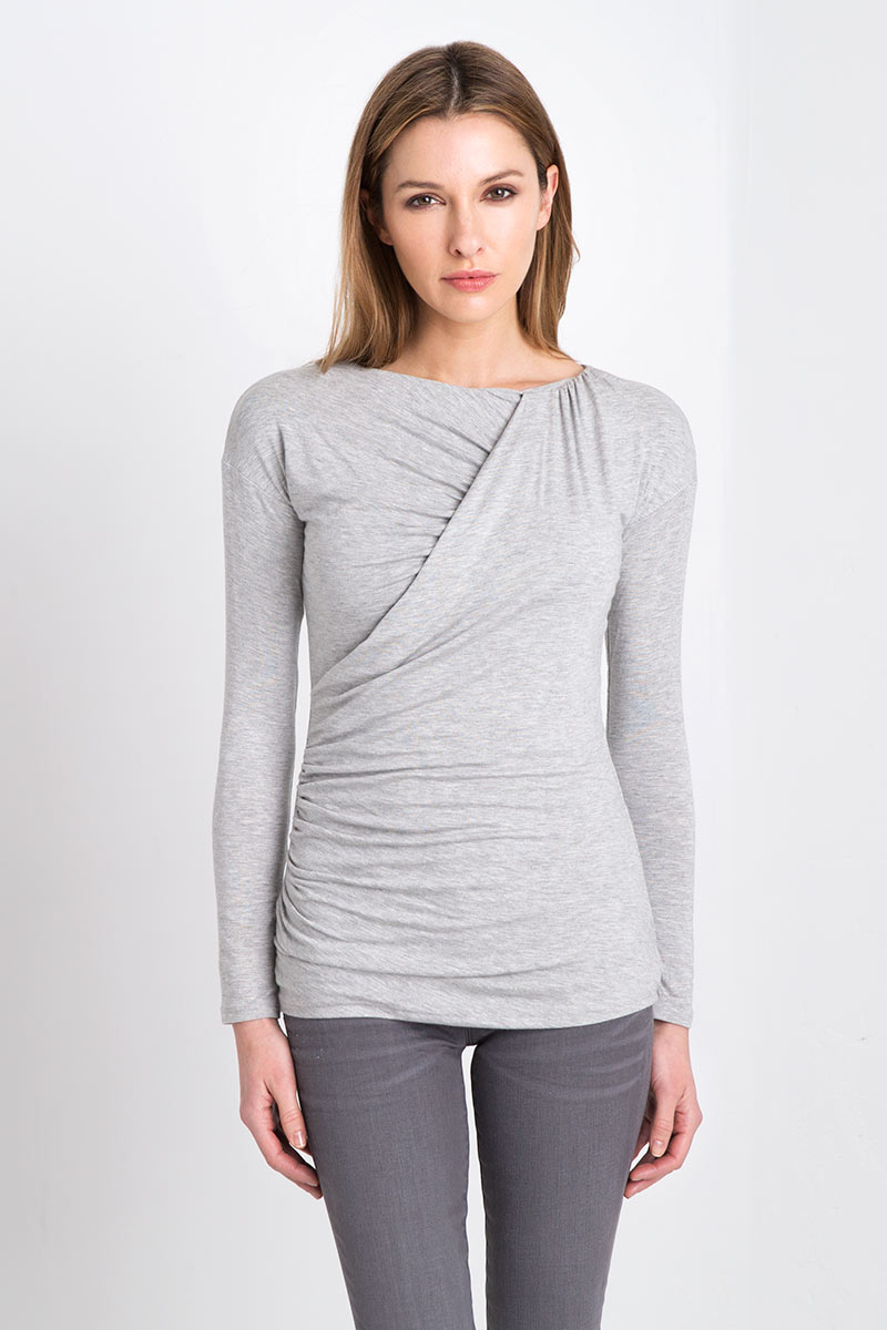 Ruched Crewneck Kinross Cashmere 100% Cashmere