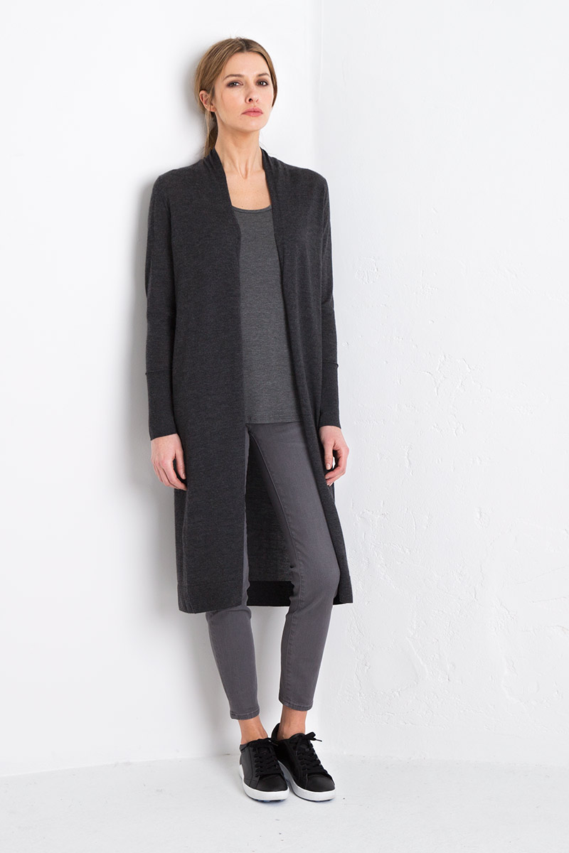 Worsted Duster - Charcoal Kinross Cashmere 100% Cashmere