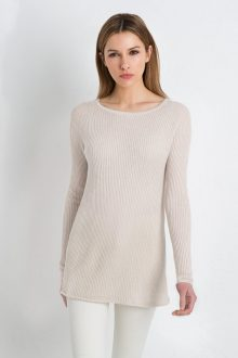 Vertical Rib Raglan Pullover Kinross Cashmere 100% Cashmere
