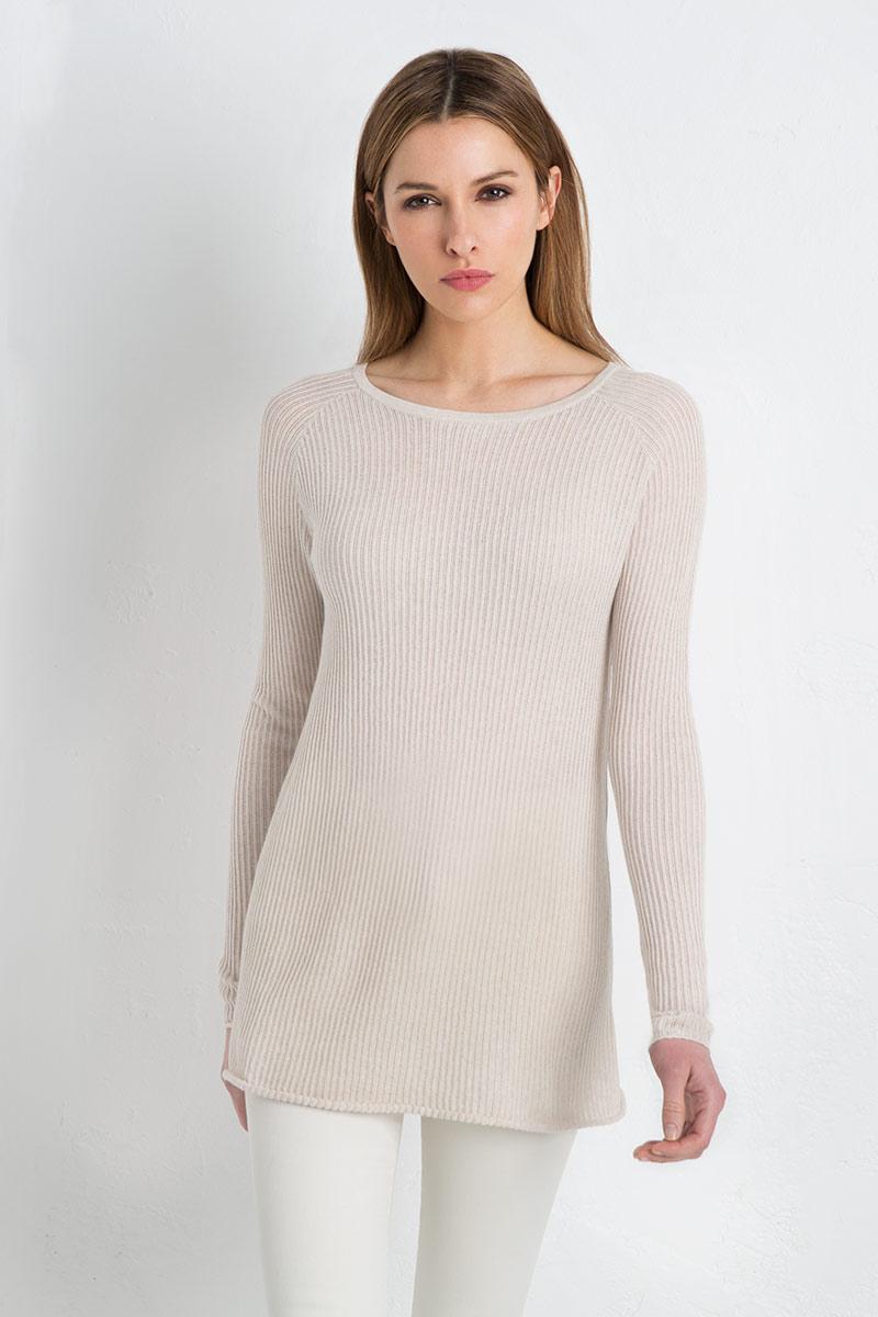 Vertical Rib Raglan Pullover Kinross Cashmere 100% Cashmere
