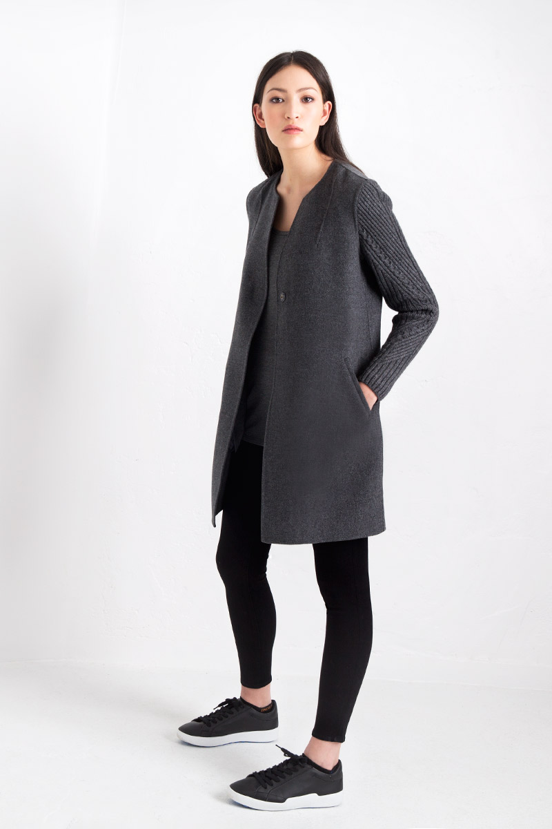 Cable Sleeve Coat Kinross Cashmere 100% Cashmere