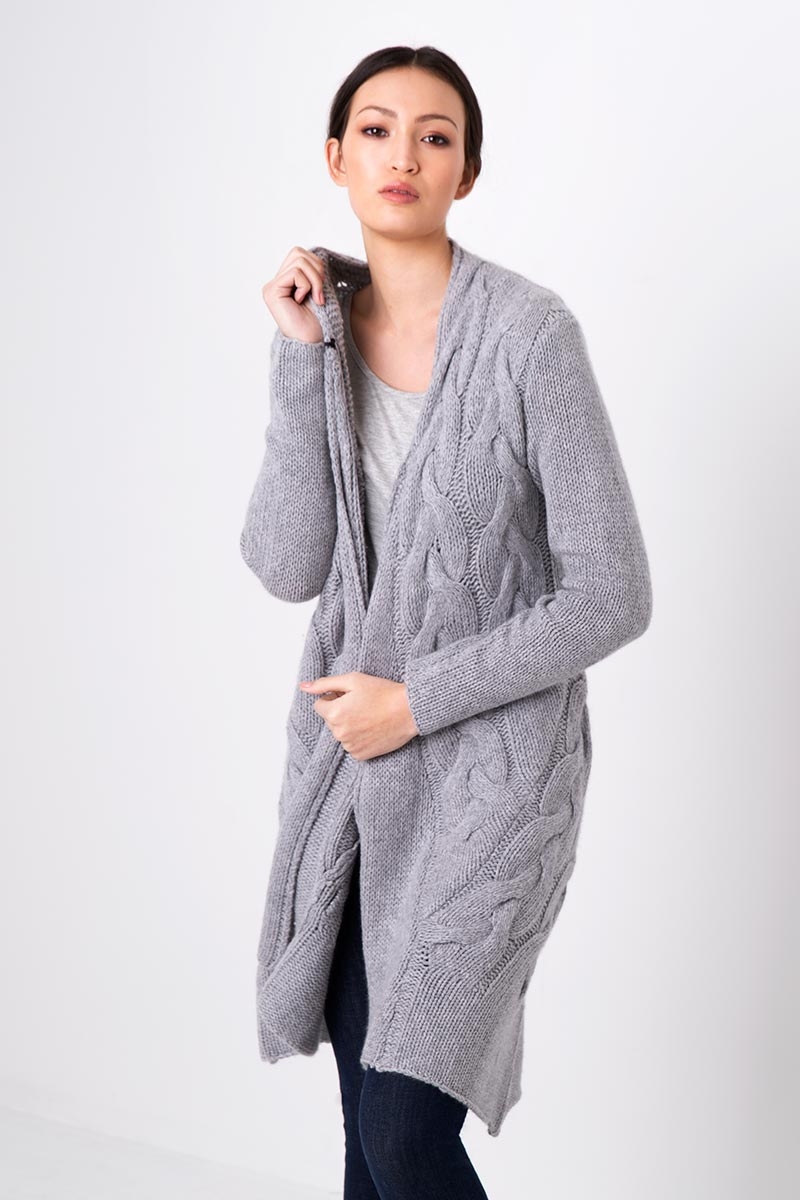 Luxe Cable Cardigan Kinross Cashmere 100% Cashmere