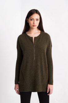 Zip Hi-Low Pullover Kinross Cashmere 100% Cashmere