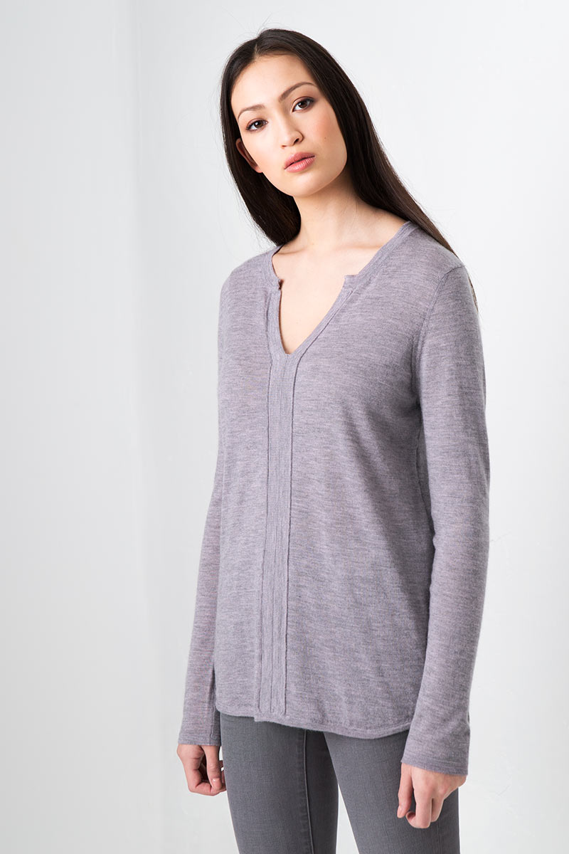 Worsted Split Neck Pullover - Thistle Kinross Cashmere 100% Cashmere