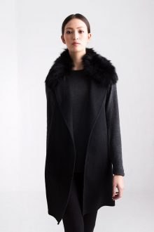 Fox Fur Collar Vest Kinross Cashmere 100% Cashmere