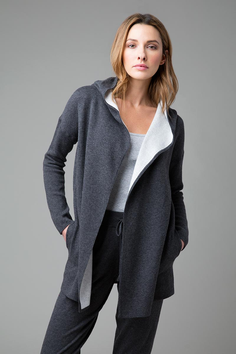Reversible Hooded Cardigan - Kinross Cashmere
