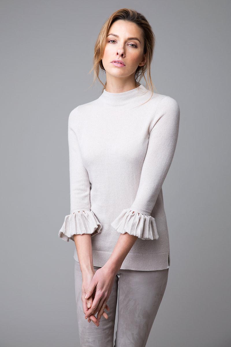 Pleat Sleeve Zip Funnel - Kinross Cashmere