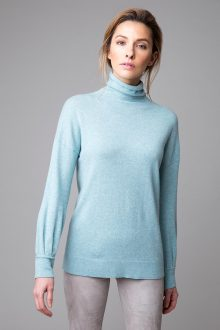 Gathered Sleeve Button Back Funnel - Kinross Cashmere