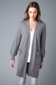 Worsted Long Cardigan - Kinross Cashmere