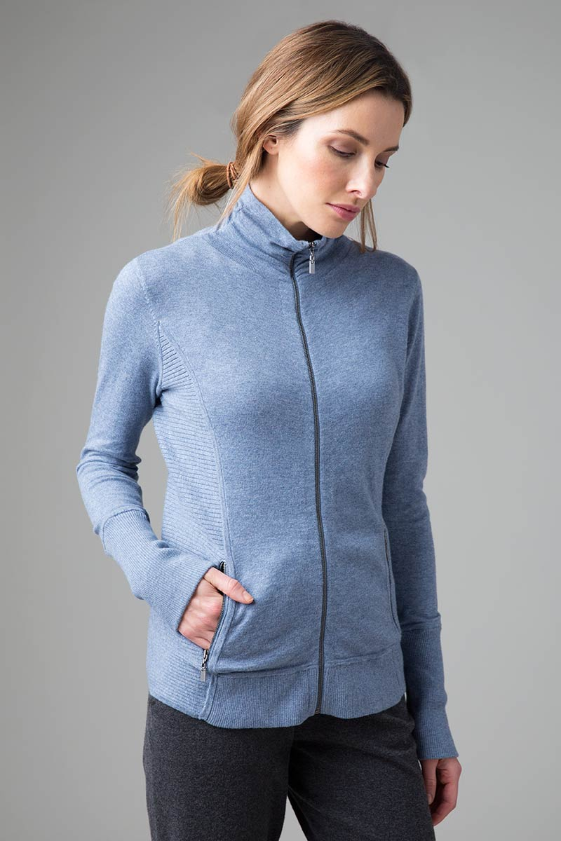 Fitted Zip Mock Cardigan - Kinross Cashmere