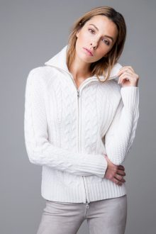 Zip Cable Cardigan - Kinross Cashmere