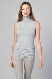Ruched Sleeveless Funnel - Kinross Cashmere