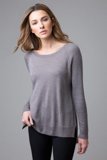 Worsted Hi Low Crewneck - Kinross Cashmere