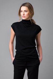 Worsted Sleeveless Drape Top - Kinross Cashmere