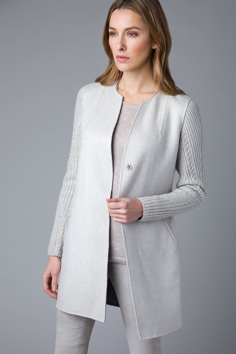 Cable Sleeve Coat - Kinross Cashmere